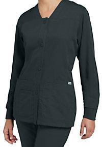 Greys Anatomy button-front v-neck scrub jacket.