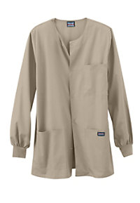 Cherokee Workwear men's snap front scrub jacket.