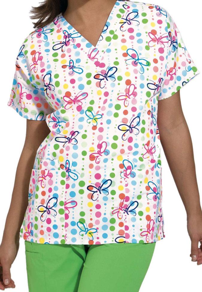 Cherokee Scrub HQ Butterfly Dots print v-neck scrub top.