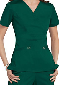 Cherokee Workwear Core Stretch mock-wrap scrub top.