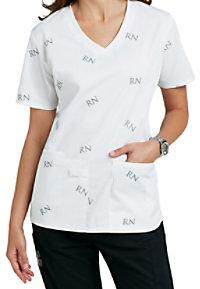 Cherokee ID Scrubs RN signature print scrub top.