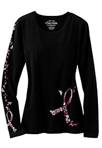 Cherokee Workwear Long Sleeve pink ribbon tee.