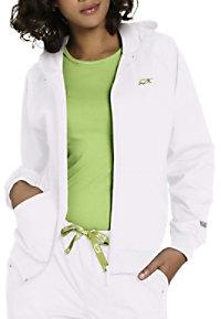 IguanaMed zip-front hooded scrub jacket.