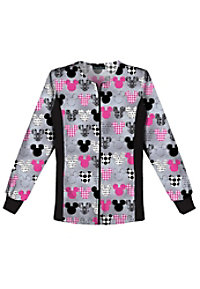 Cherokee Flexibles M-I-C-K-E-Y print scrub jacket.