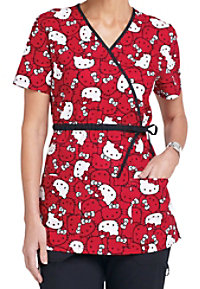 Cherokee Tooniforms Hello Kitty Faces print scrub top.