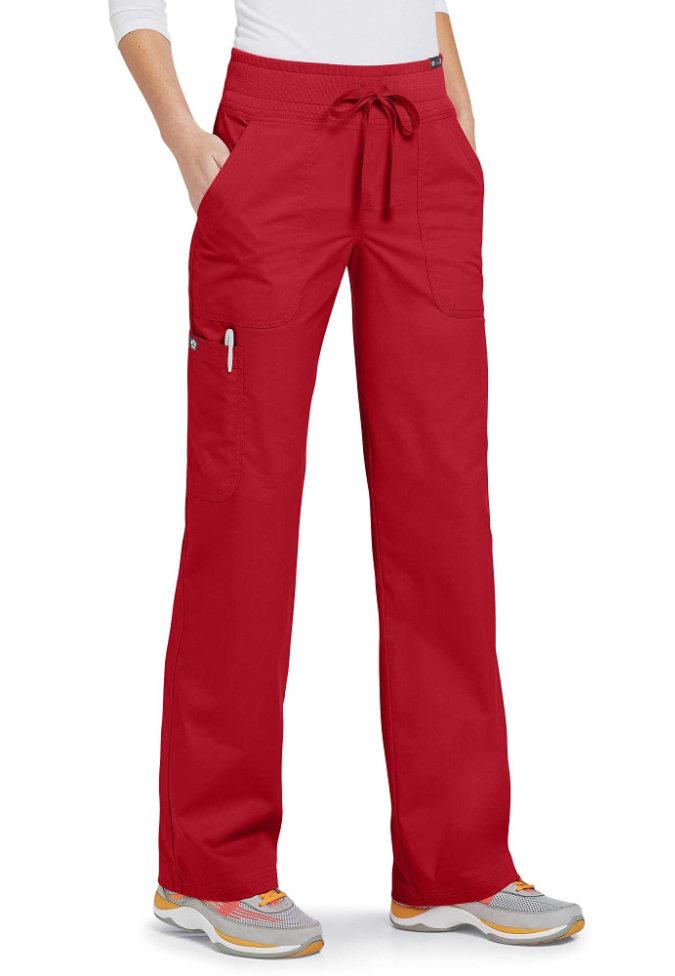 Koi Morgan 5-pocket scrub pants.