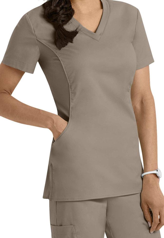 White Cross Allure v-neck scrub top.