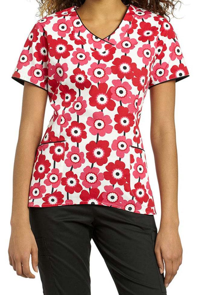 White Cross Stripe Poppy v-neck print scrub top.