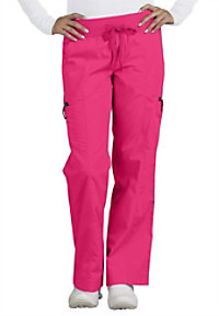 Peaches Comfort enzyme washed knit waist cargo scrub pants.