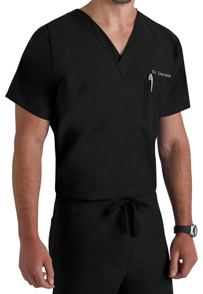Landau unisex  v-neck with chest pocket scrub top.
