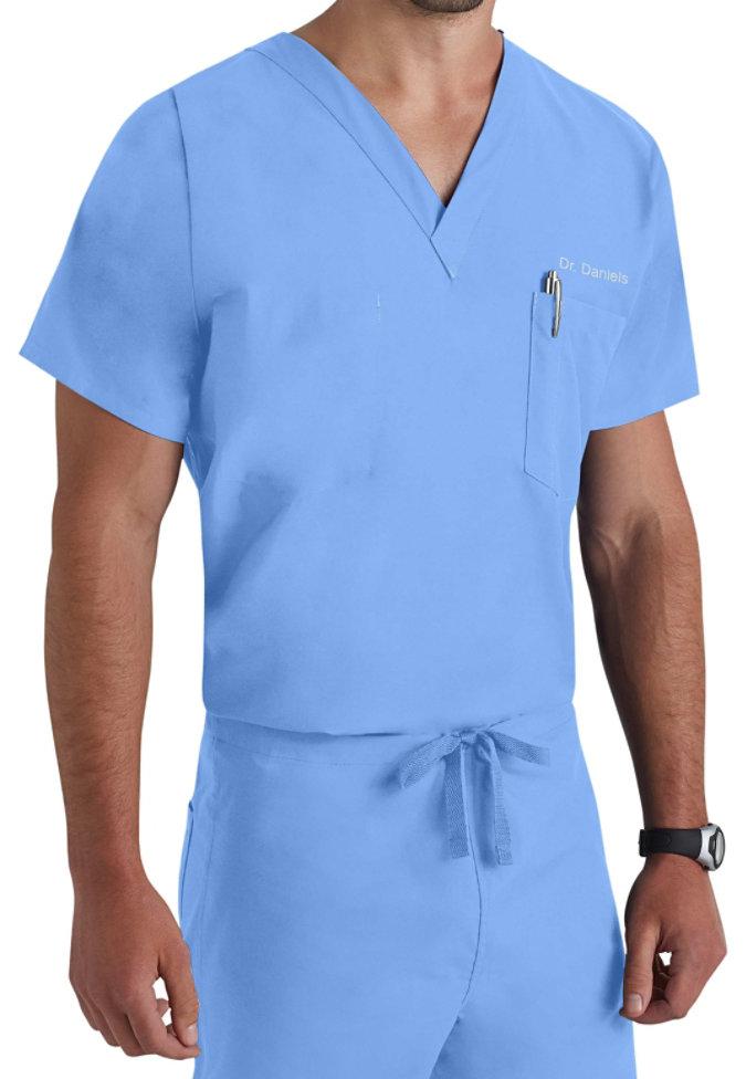 Landau unisex  v-neck with chest pocket scrub top.