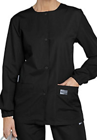 ScrubZone round neck scrub jacket.