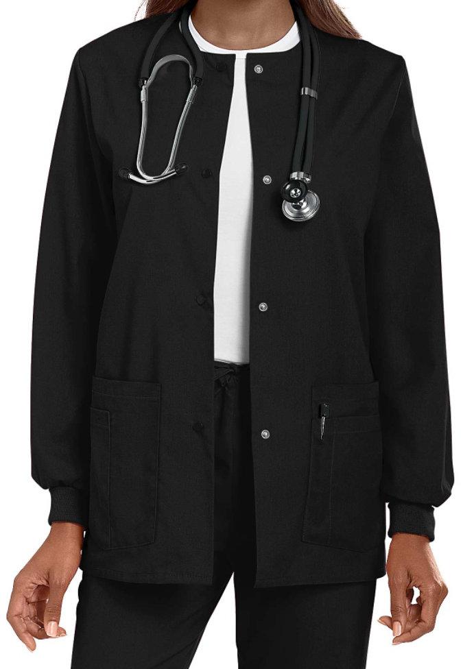 Landau round-neck scrub jacket.