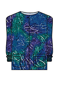 Landau Finger Paint print scrub jacket.
