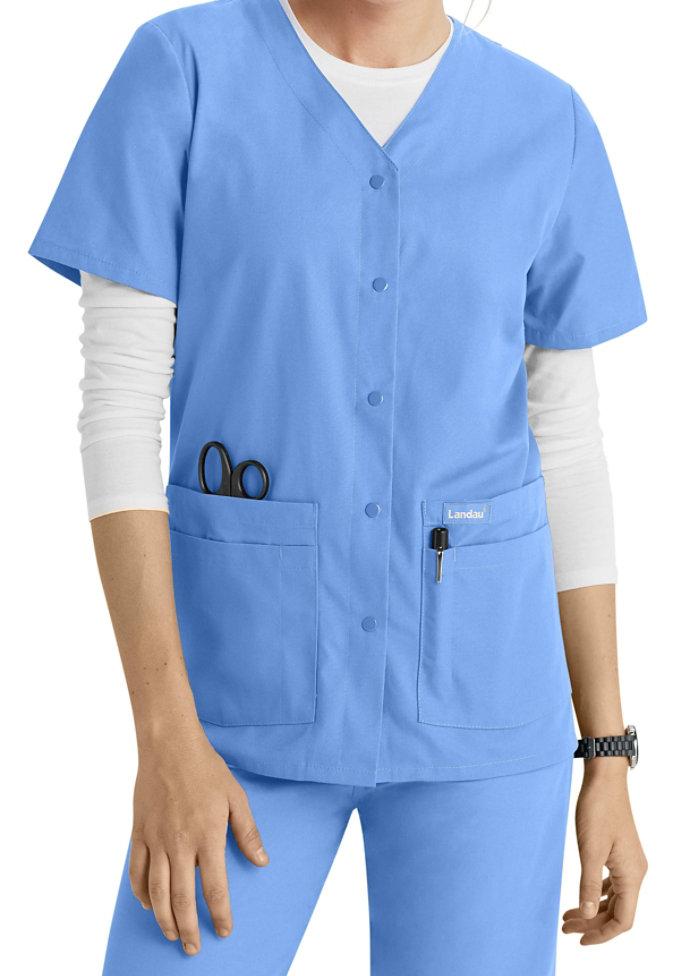 Landau snap front medical scrub top.