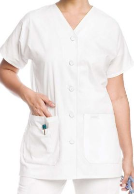 Landau v-neck button front tunic. - White - 4X plus size,  plus size fashion plus size appare