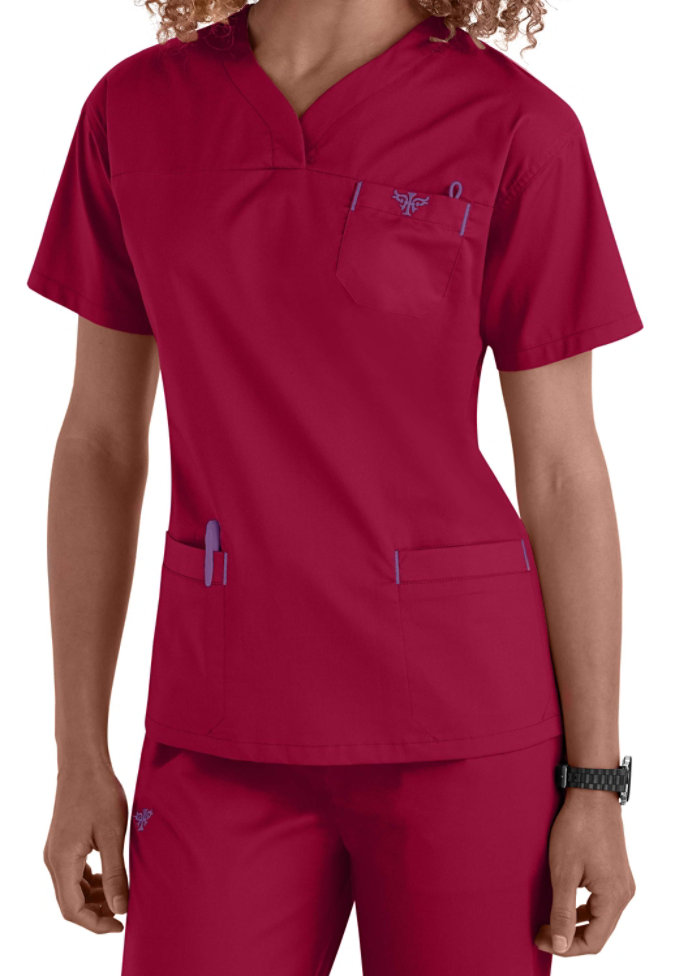 Med Couture EZ Flex crossover sport v-neck scrub top.