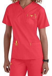 Med Couture EZ Flex crossover sport v-neck scrub top.