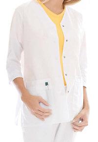 Landau uniforms three quarter sleeve scrub jacket.