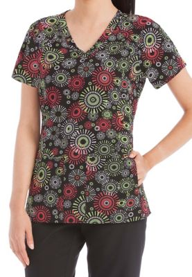 Med Couture Activate Round and Round Refined print scrub top. - Round and Round print - M 8423RR