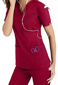Med Couture media v-neck scrub top.