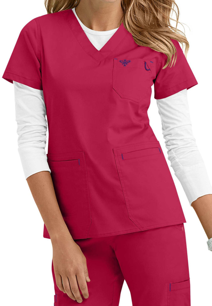 Med Couture Moda modern fit v-neck scrub top.
