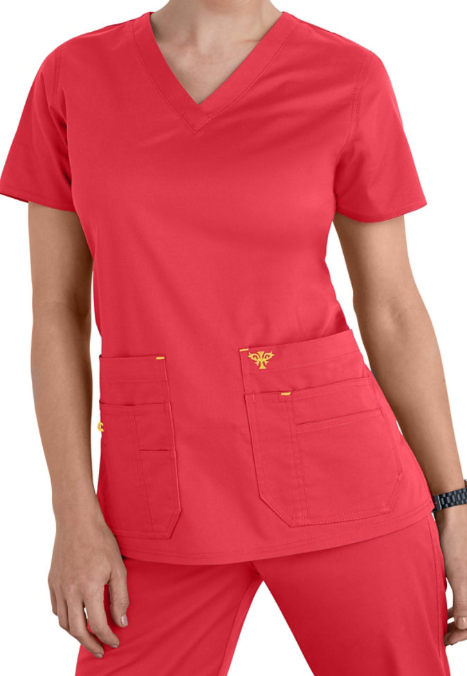 Med Couture Flex-It Knit Insert scrub top.