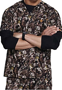 Med Couture by Peaches Natural Disguise unisex print scrub top.