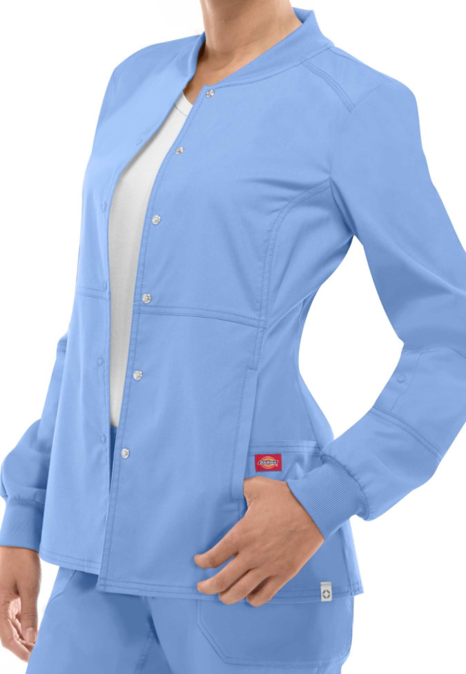 Dickies EDS Signature Stretch snap front scrub jacket with Certainty.