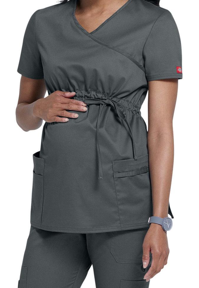Dickies Gen Flex mock-wrap maternity scrub top