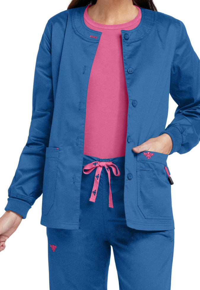 Med Couture warm-up scrub jacket.