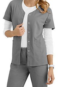 Urbane Ultimate Megan snap front short sleeve scrub jacket.