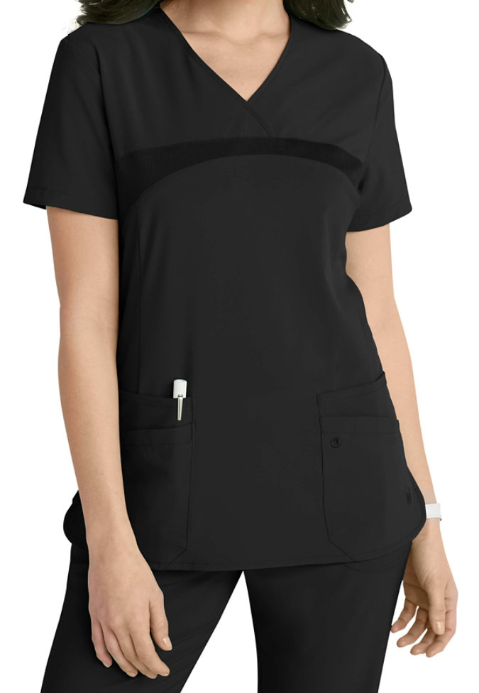 Urbane Performance crossover v-neck scrub top.