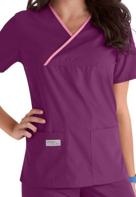 Urbane Essentials Crossover Scrub Top - Concord/Cherry Blossom - XL
