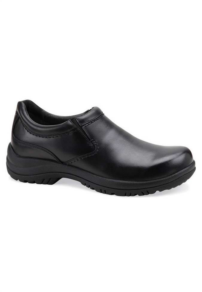 Dansko Wynn black smooth leather nursing clogs for men.