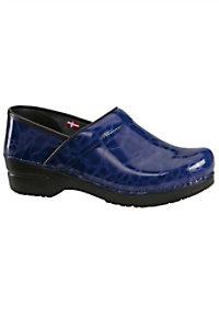 Sanita Textured Patent nursing shoe.