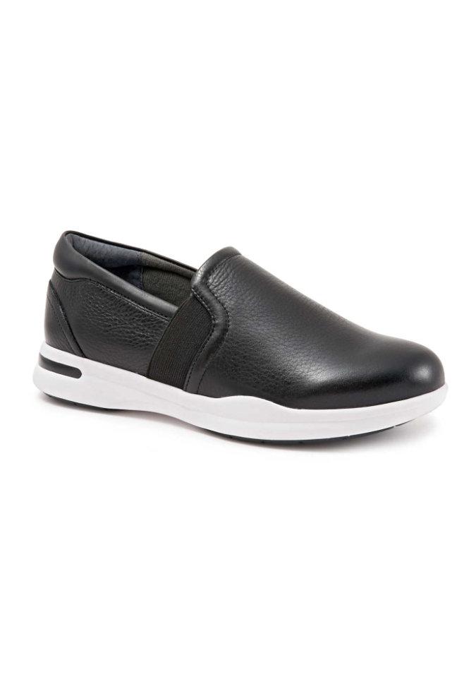 Greys Anatomy by Softwalk Vantage black tumbled leather slip-on shoe.