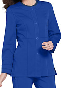 Urbane Ultimate Mindi snap-front scrub jacket.