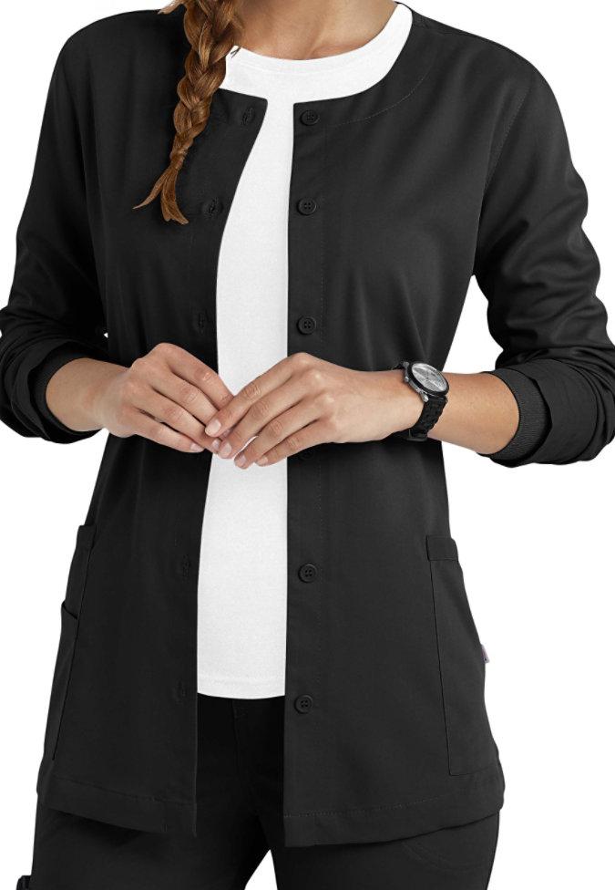 Urbane Ultimate button front scrub jacket.
