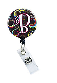 Initial This Brown & Circles retractable badge holder.