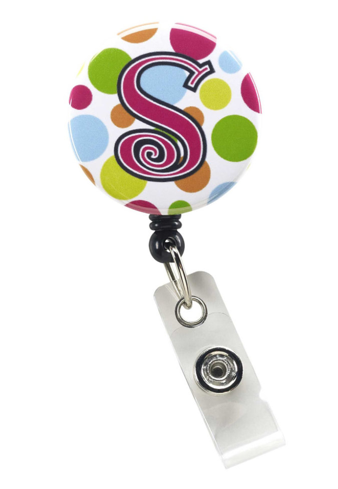 Initial This Multi Dot retractable badge holder.