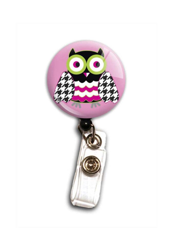 Pink Owl badge holder.
