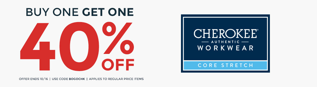 BOGO 40% off Cherokee Workwear Core Stretch
