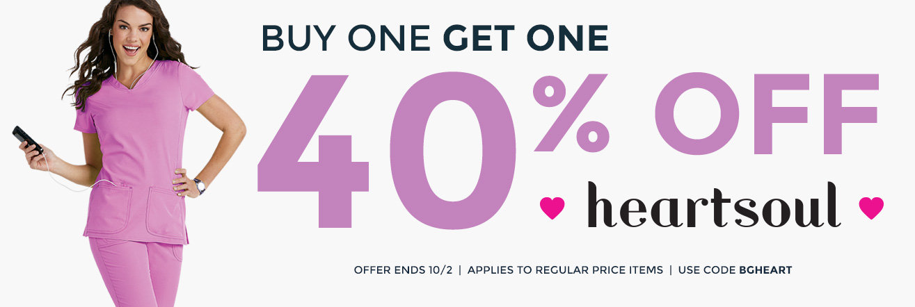 BOGO 40% off HeartSoul scrubs thru 10/2.