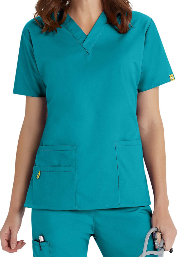 WonderWink Bravo v-neck scrub top.