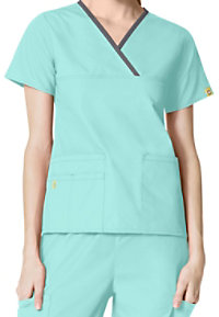 WonderWink Charlie y-neck contrast trim scrub top.