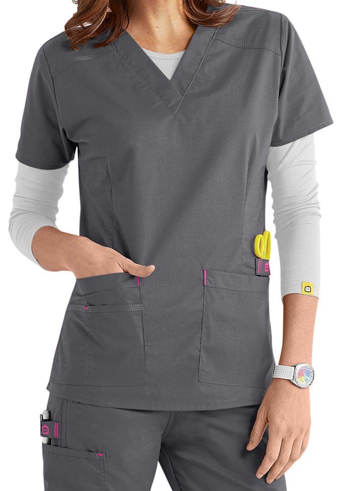 WonderFlex Verity Stretch v-neck scrub top.
