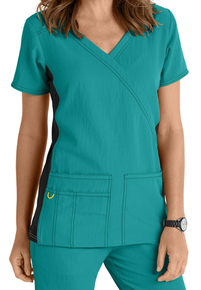 WonderWink 4-Stretch knit panel scrub top.