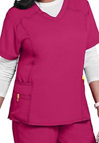 WonderWink Plus curved v-neck scrub top.