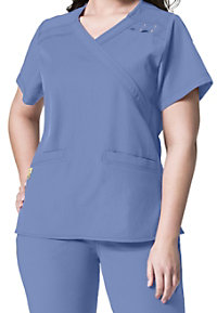 WonderWink Plus mock-wrap scrub top.